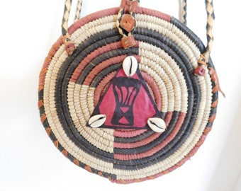 African Burkina Woven Ethnic Tribal Wicker and Leather Purse with Drum Design