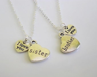 I love you Sister, I love you Brother, Set of 2 necklaces, Sister and Brother charm Necklaces, Sister and Brother gifts, Birthday gifts