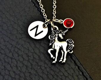 Unicorn necklace, unicorn jewelry, princess jewelry, silver unicorn charm, birthstone necklace, initial necklace, Mythical Horse gift