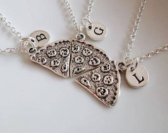 3 Best Friend Pizza necklaces, 3 Best Friends Gifts, Pizza slices necklaces, set of 3 necklaces, BFF Personalized gifts Friendship necklaces