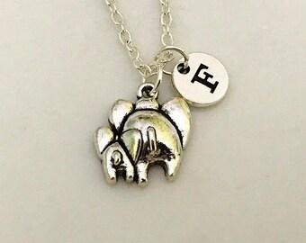 Elephant Necklace, Mom and Baby Elephant Necklace, Mama and Baby Elephant, New Mommy Necklace, Baby Elephant Necklace