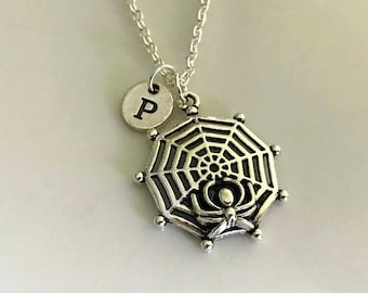 Halloween jewelry, Spider and web necklace, Spider charm, Fantasy Jewelry, Initial necklace, Customized necklace, Halloween necklace