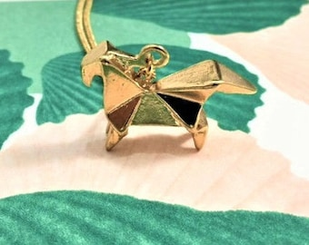 Gold horse origami pendant necklace