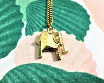 Gold elephant origami pendant necklace