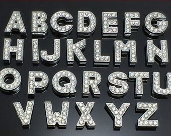 Rhinestone letters etsy 26pcs pick choose your own or a z 8mm full rhinestone slide charm letters wholesale slide alphabet letters diy jewelry supply spiritdancerdesigns Choice Image