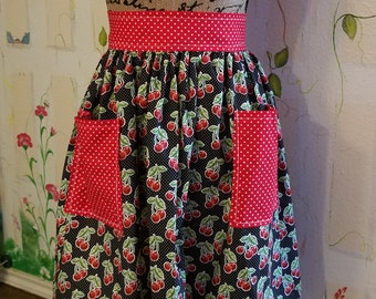 XL Handmade Half Apron with Pockets Cherries Polka Dots Red Black