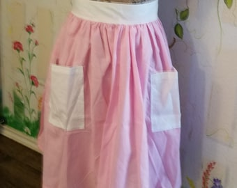 XL Half Apron with Pockets Pink and White