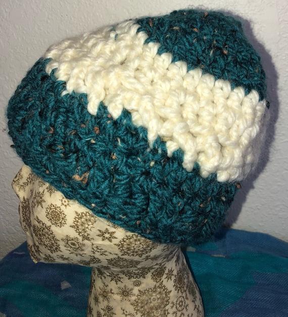 Cream   turquoise ski hat.  fca766e5634