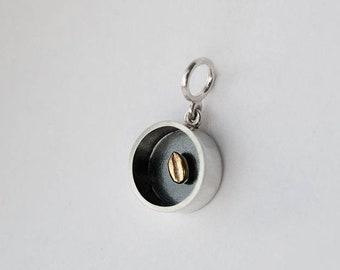 Silver mens pendant, Wheat seed necklace man, geometric pendants men, oxidized silver, gift dad pendant,Black and silver,Grain,Wheat jewelry