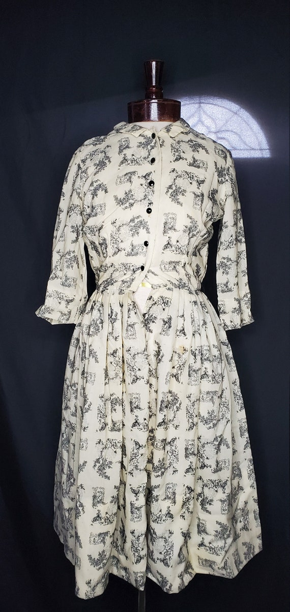 Vintage 1950s cream French toile lovers dress//Vi… - image 2