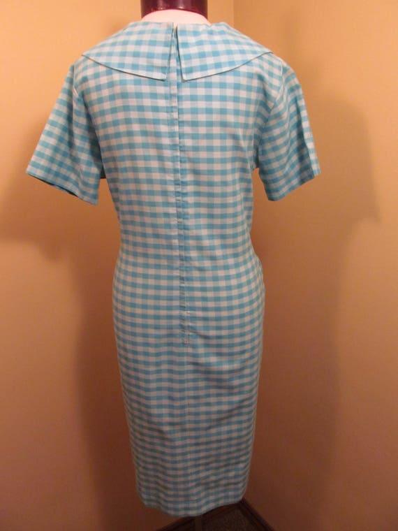 Vintage 1960s Blue check peter pan collar dress//… - image 5