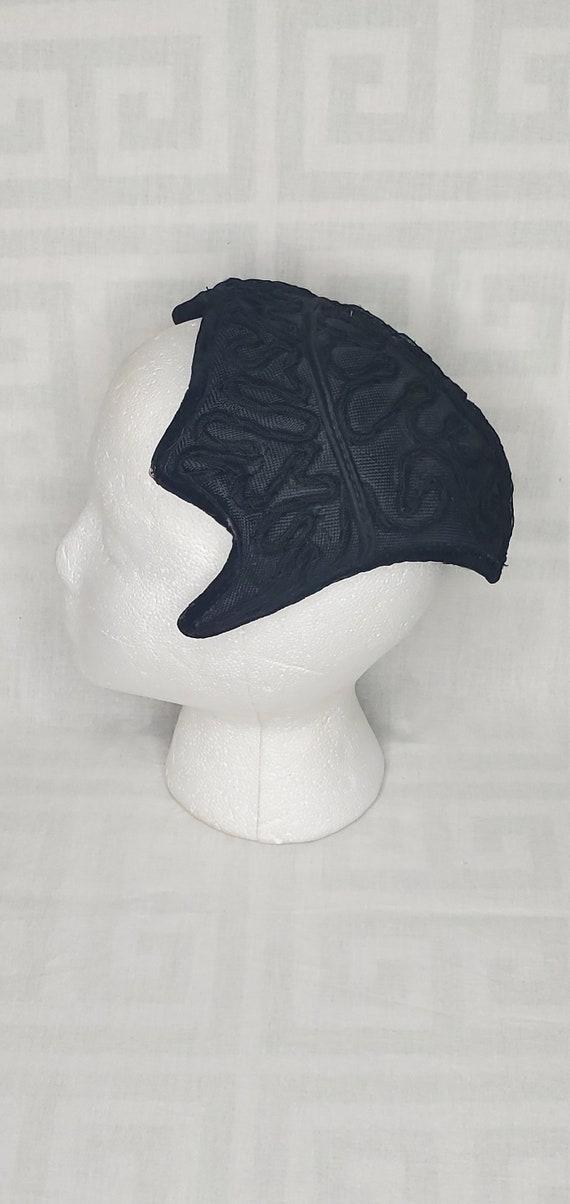 Vintage 1950s black Juliette hat//Vintage black ha