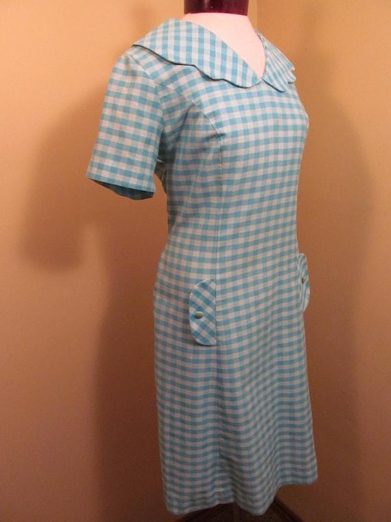 Vintage 1960s Blue check peter pan collar dress//… - image 4