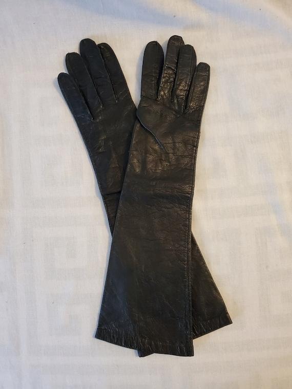 Vintage 1950s black leather gloves//1950s black le