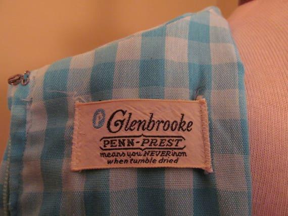 Vintage 1960s Blue check peter pan collar dress//… - image 6