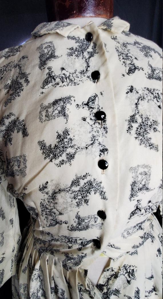 Vintage 1950s/1960swhite French Toile print dress… - image 9
