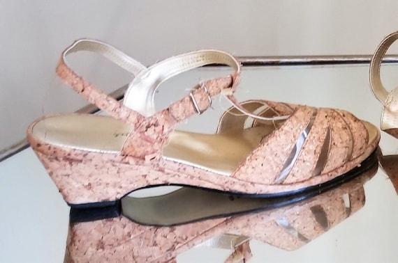 Vintage 1950s/1950s cork sandals//Vintage strappy… - image 6