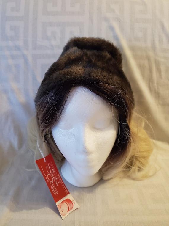 Vintage 1950s/1960s NOS gray fuax fur hat//1950s g