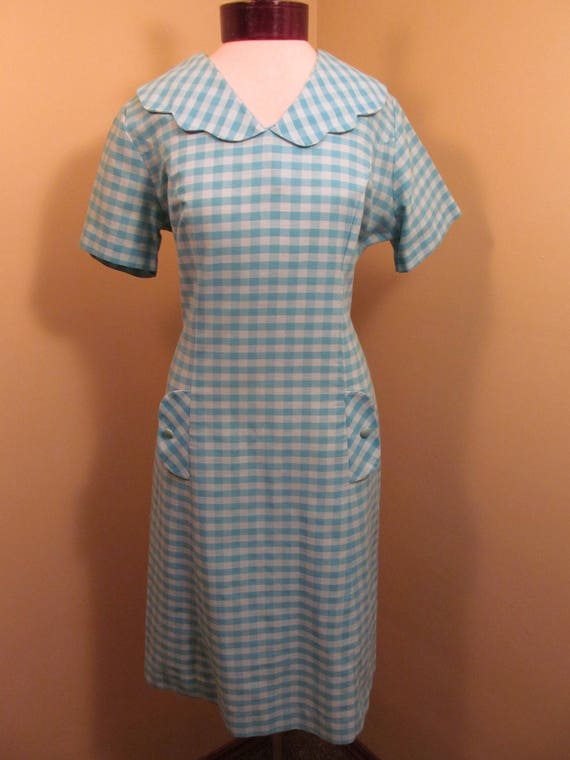 Vintage 1960s Blue check peter pan collar dress//1