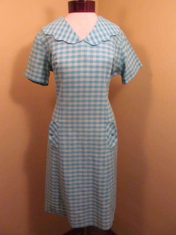 Vintage 1960s Blue check peter pan collar dress//… - image 1