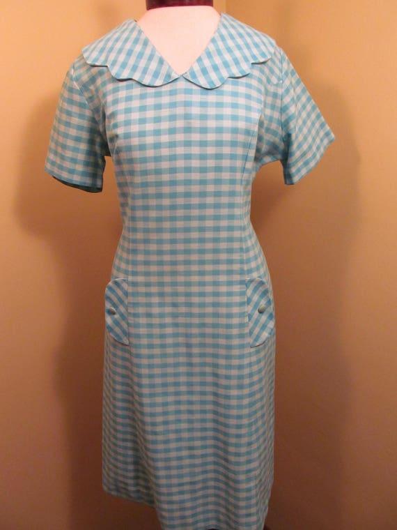Vintage 1960s Blue check peter pan collar dress//… - image 2