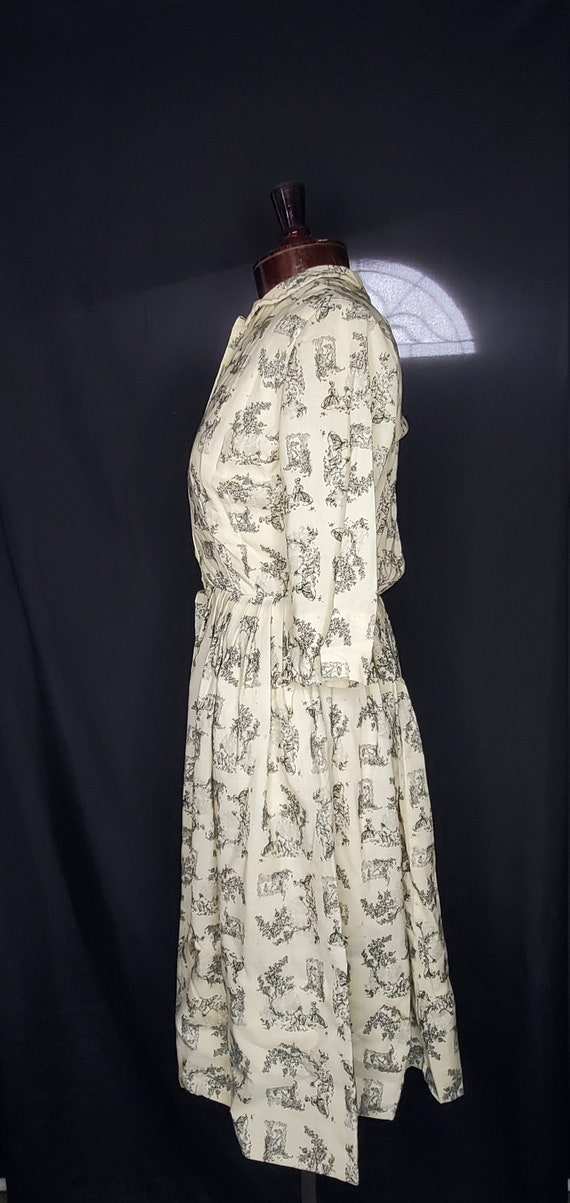 Vintage 1950s cream French toile lovers dress//Vi… - image 4