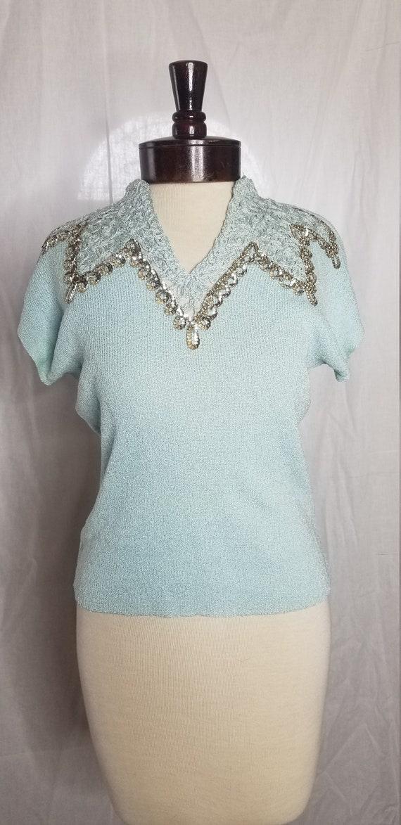 Vintage 1940s/1950s blue rayon blouse//Vintage 194