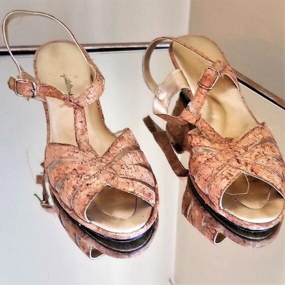 Vintage 1950s/1950s cork sandals//Vintage strappy… - image 1