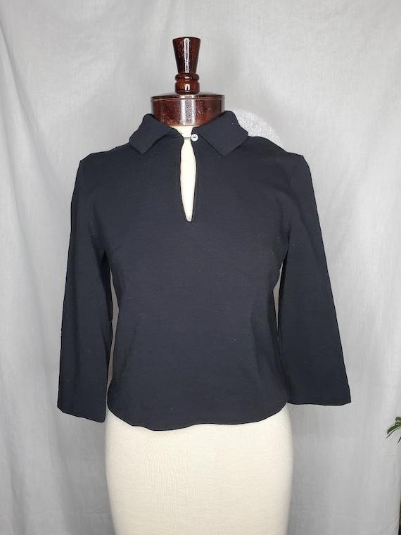 Vintage 1950s black keyhole blouse//Vintage 1950s
