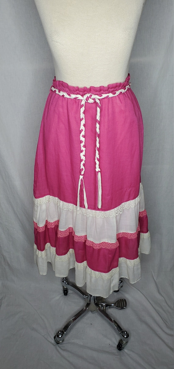 Vintage 1960s pink and white maxi skirt//Vintage 1