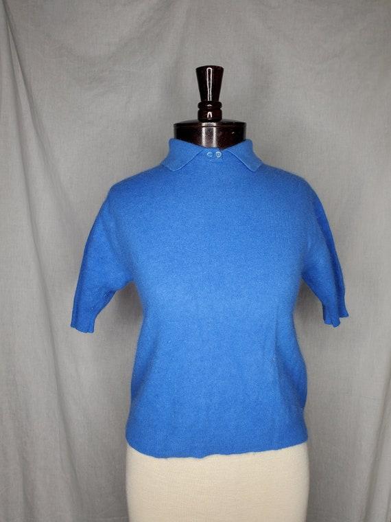 Vintage 1940s/1950s blue angora sweater//Vintage 1