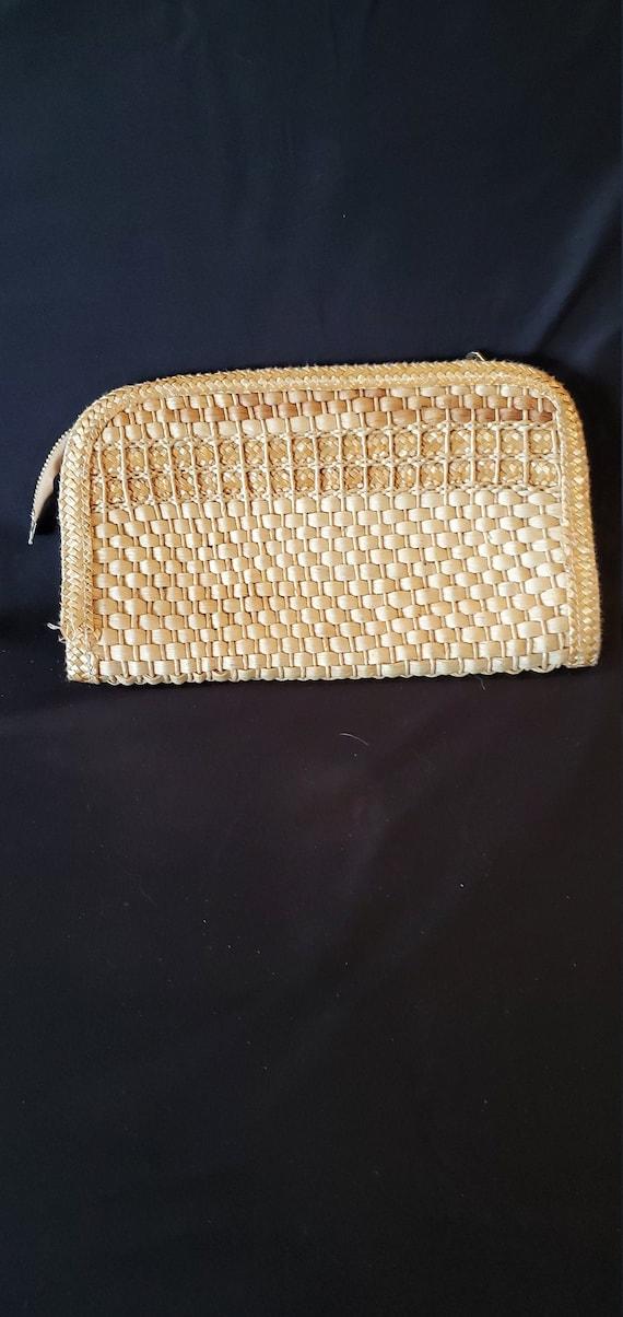 Vintage 1940s/1950s woven wicker clutch//1940s wov