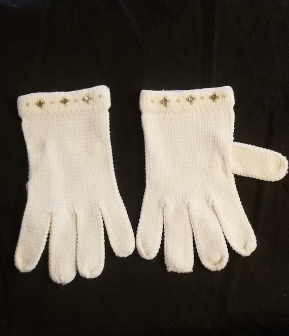Vintage white knit and rhinestone gloves// Vintag… - image 1