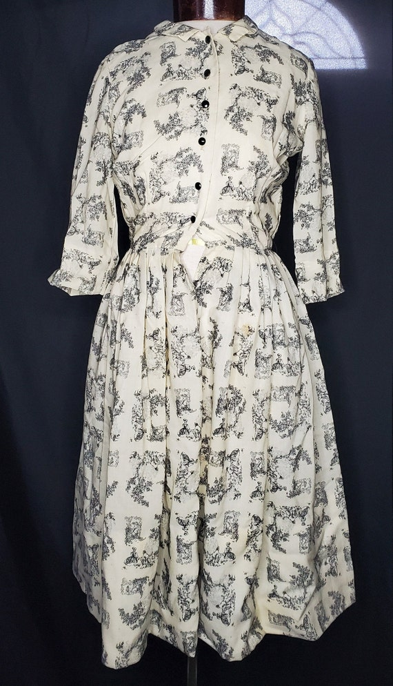 Vintage 1950s/1960swhite French Toile print dress… - image 2