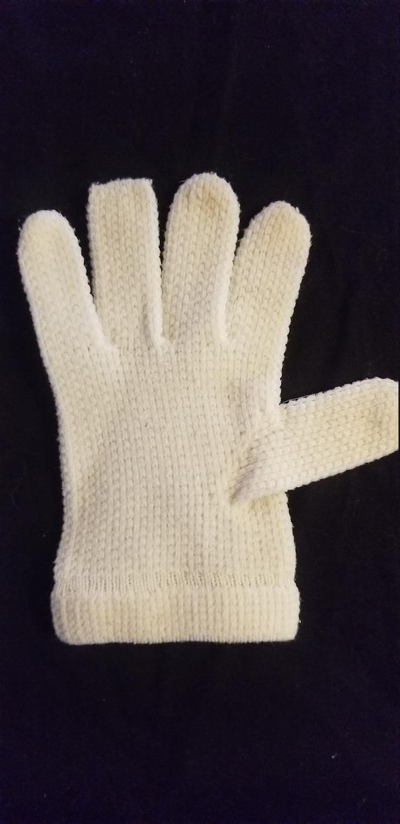 Vintage white knit and rhinestone gloves// Vintag… - image 5