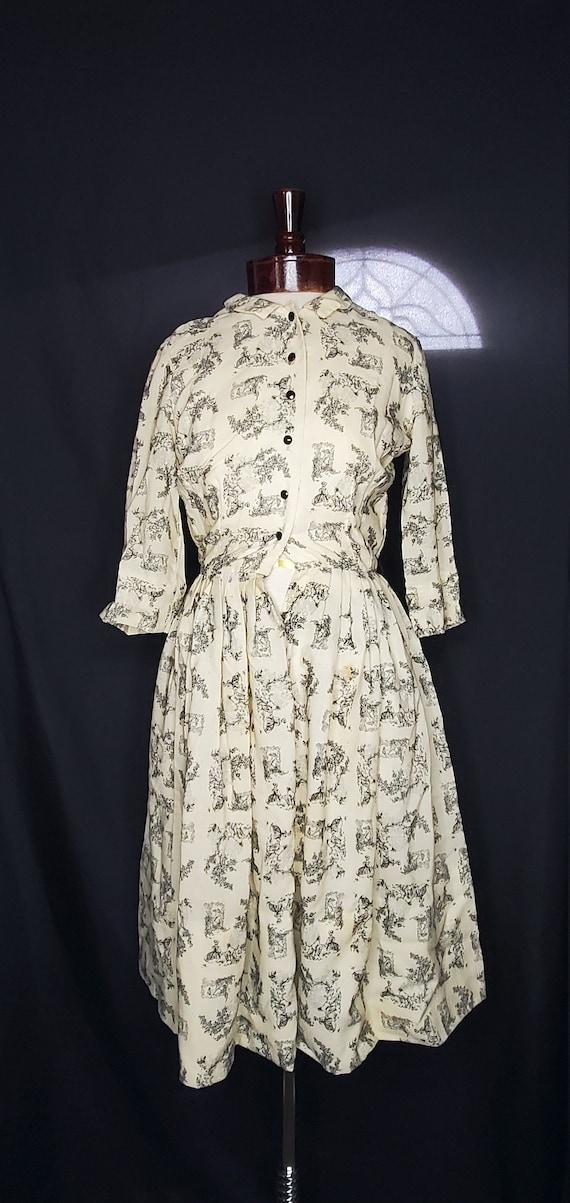 Vintage 1950s/1960swhite French Toile print dress… - image 1