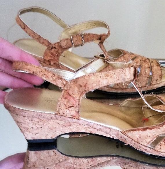Vintage 1950s/1950s cork sandals//Vintage strappy… - image 8