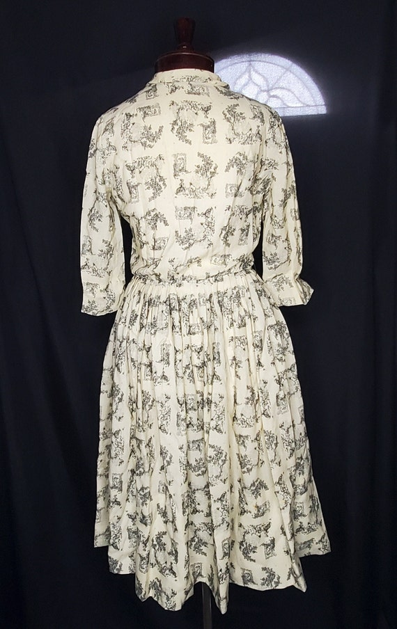 Vintage 1950s cream French toile lovers dress//Vi… - image 6
