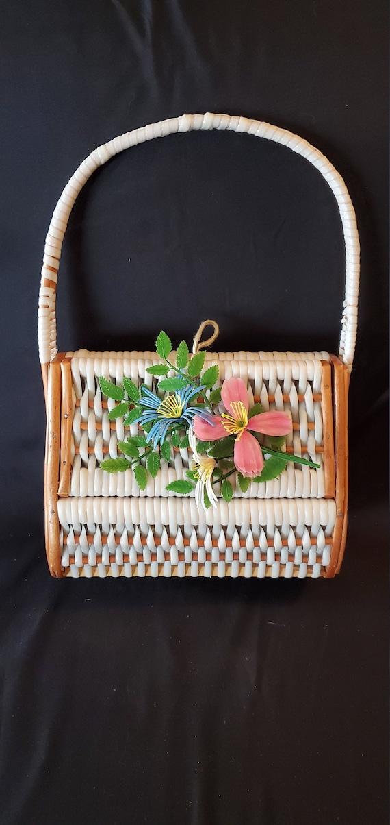Vintage floral basket handbag//Vintage 1950s/1960s