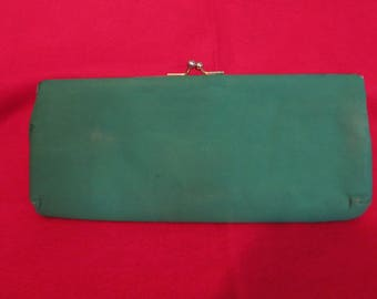 Vintage 1940s kelly green clutch hangbag/evening bag