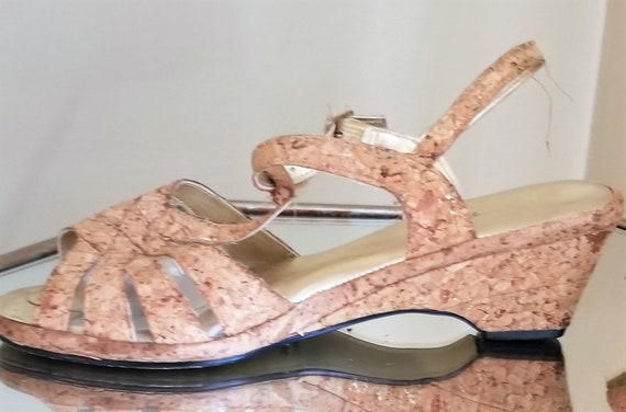 Vintage 1950s/1950s cork sandals//Vintage strappy… - image 7