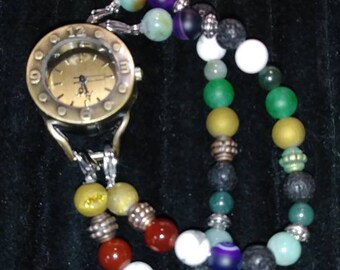 Colorful beaded watch 7 in.