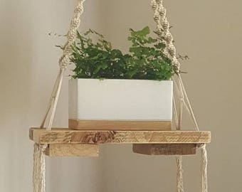 Handmade Macrame Hanging Timber Pallet Shelf