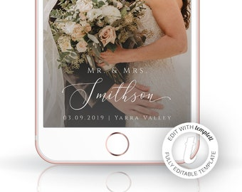 Wedding Geofilter, Wedding Filter, Editable Template, Personalised Geofilter, Instant Download, Just Married, Mr & Mrs