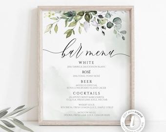 Templett Instant Download Floral Bar Menu Sign Wedding Alcohol Drinks Menu Pink Floral Wedding Bar Menu Sign Floral Wedding WD1