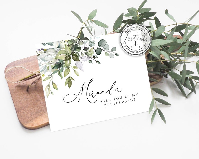 Rustic Eucalyptus Printable Card Maid Of Honor Proposal Card Matron of Honor BD44 Greenery Will You Be My Bridesmaid Card Instant Download