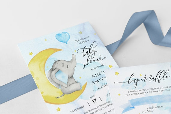Printable BD42 Instant Download Editable Thank You Baby Shower Card Baby Animals Baby Girl Tent Fold Baby Elephant Baby Elephant