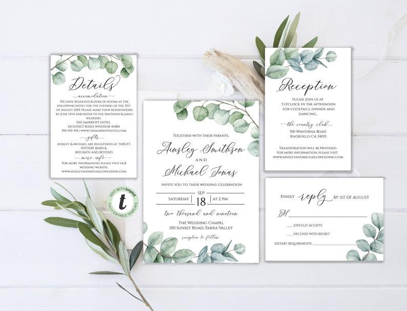 Instant Download Floral Editable Greenery invite Eucalyptus Printable Invitation Bohemian Editable Wedding Invitation Suite BD34
