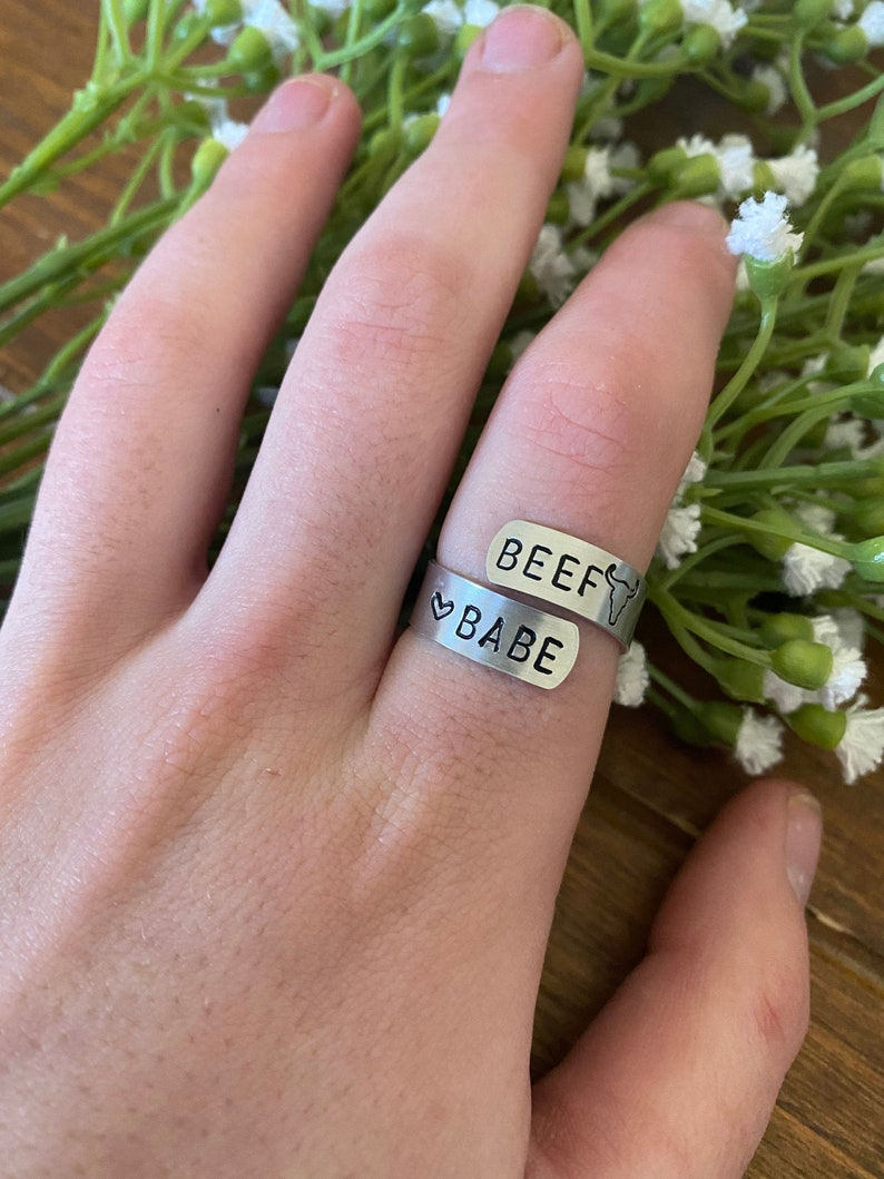 Beef Babe metal stamped adjustable ring,western,boho,ring,hippie,western style,cowgirl,country girl,metal ring,thumb ring,southwestern