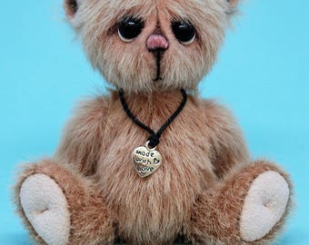 """Tilly - 4"""" Artist miniature teddy bear, Handmade, Collectible, OOAK"""